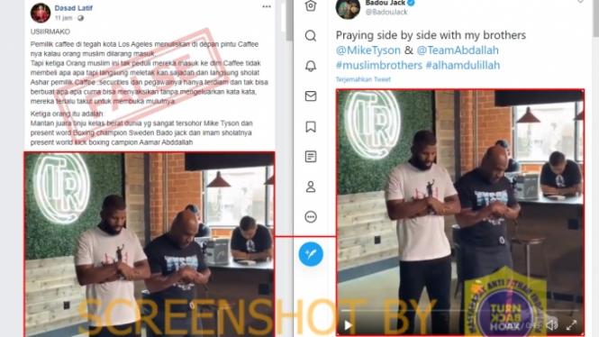 Tangkapan layar (screen shot) akun Facebook yang mengunggah foto dengan klaim bahwa Mike Tyson salat di sebuah kafe yang pemiliknya melarang Muslim masuk ke sana.
