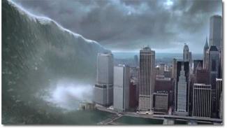 Ilustrasi mega tsunami.