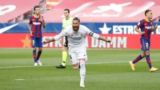 Kapten Real Madrid, Sergio Ramos usai cetak gol ke gawang Barcelona