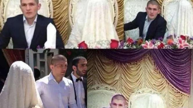 Khabib Nurmagomedov dan istrinya saat menikah