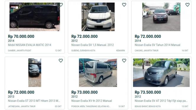 Nissan Evalia di laman jual beli mobil bekas