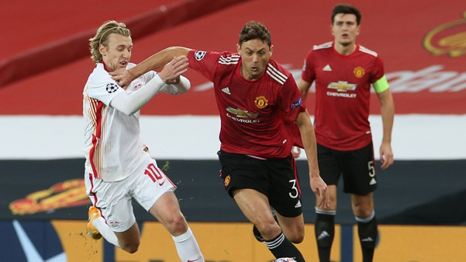 Laga grup H Liga Champions, Manchester United versus RasenBallsport Leipzig.