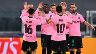 Para pilar Barcelona rayakan gol Ousmane Dembele ke gawang Juventus.