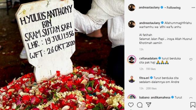 Postingan berduka di akun IG Andre Taulany