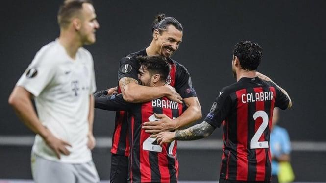 Zlatan Ibrahimovic dan Brahim Diaz saat laga AC Milan vs Sparta Praha
