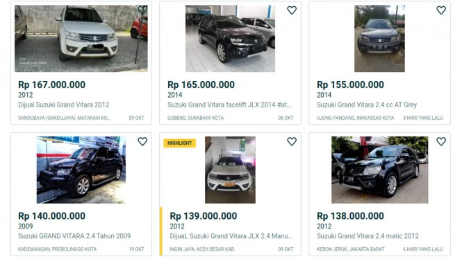Suzuki Grand Vitara di laman jual beli mobil bekas