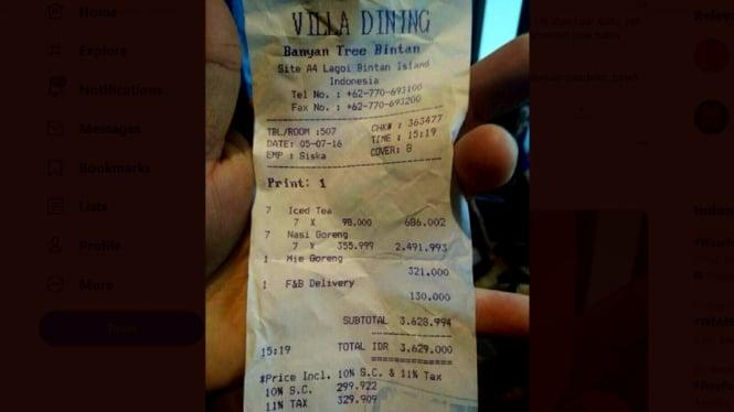 Viral, struk pesanan makanan sebuah villa di Bintan