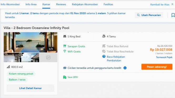 Tarif kamar villa yang viral pesanan harga es teh Rp98 ribu