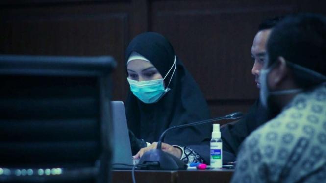 Suasana sidang pengadilan atas Jaksa Pinangki Sirna Malasari.