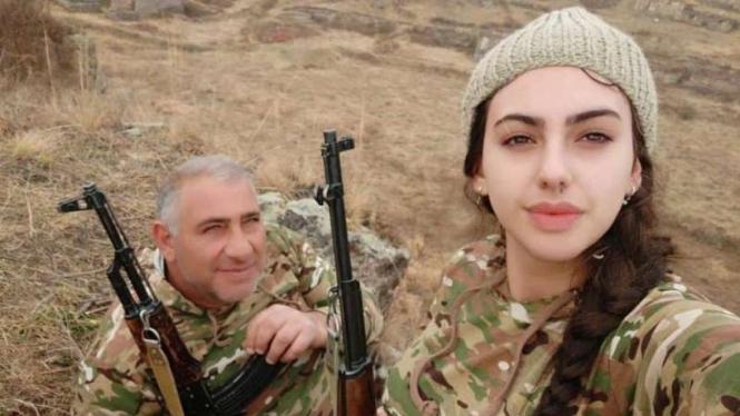VIVA Militer: Foto tentara cantik Armenia ikut perang di Nagorno-Karabakh