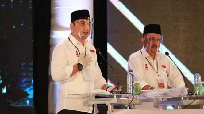 Eri Cahyadi-Armudji dalam acara debat perdana Pilkada Surabaya
