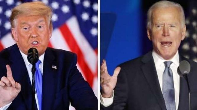 Donald Trump (kiri) Joe Biden (kanan)