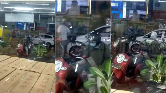 Pengunjung minimarket salah ambil motor