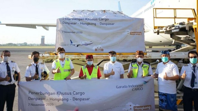 Garuda Indonesia buka rute kargo Bali - Hong Kong.