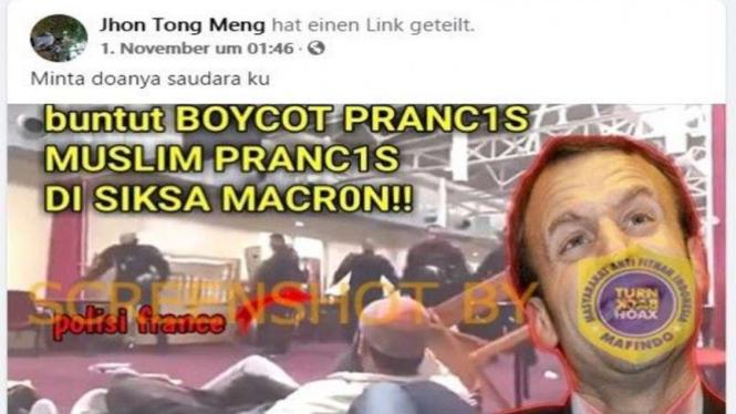 Hoax buntut dari aksi boikot, Macron siksa muslim Prancis.