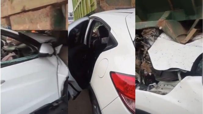 Kecelakaan Honda HR-V dan dump truck