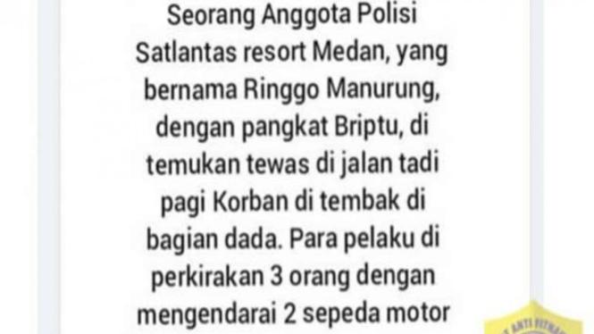 Hoax polisi Medan tewas ditembak