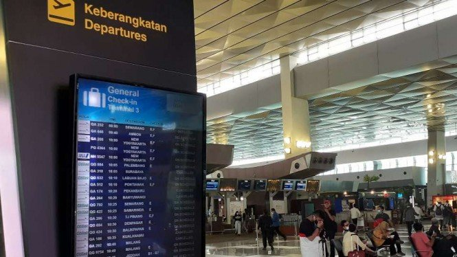 Ruang keberangkatan di Bandara Soekarno-Hatta, Cengkareng, Tangerang, Banten.
