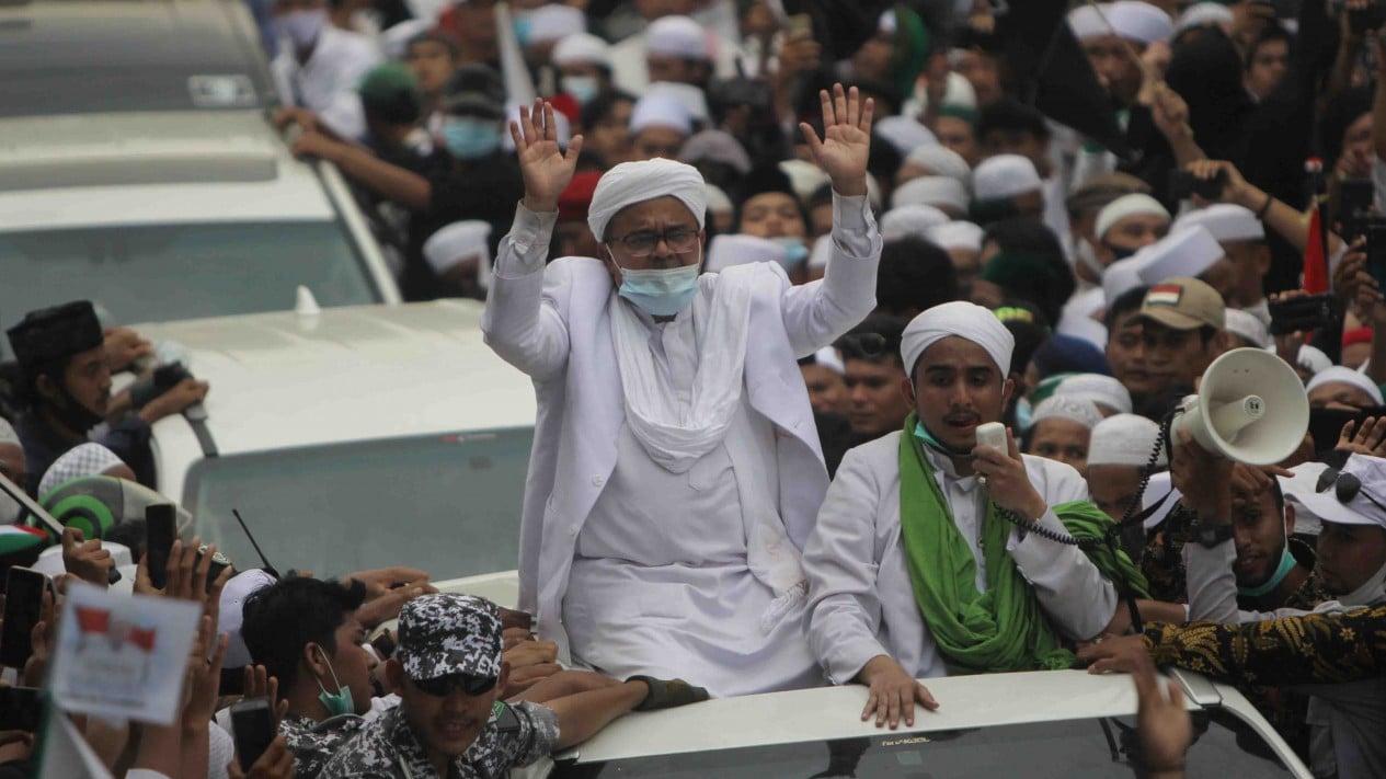 Habib Rizieq Shihab saat tiba di Petamburan