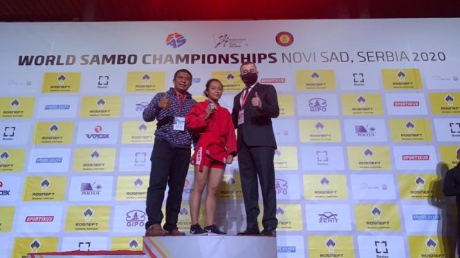 Desiana Syafitri saat mentas di Kejuaraan Dunia Sambo. Sambo diusulkan dipertandingkan di SEA Games 2021.