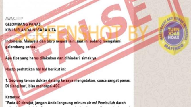 Hoax gelombang panas melanda Indonesia