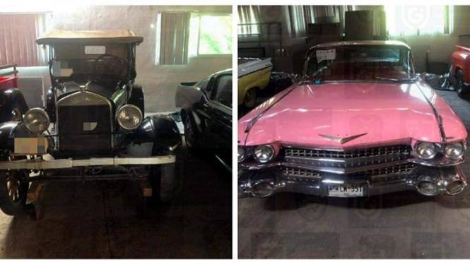 Dua mobil klasik yang disita dari rumah Kapolres Kota Meksiko