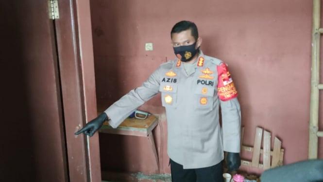 Kapolres Metro Depok Komisaris Besar Polisi, Aziz Andriansyah di TKP Kontrakan