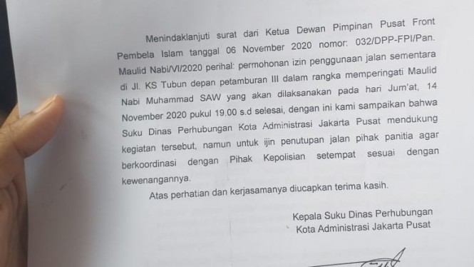 Surat izin penggunaan jalan dari Suku Dinas Perhubungan Kota Administrasi Jakarta