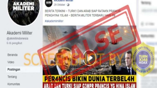 Hoax Turki dan Arab Saudi siap ratakan Prancis