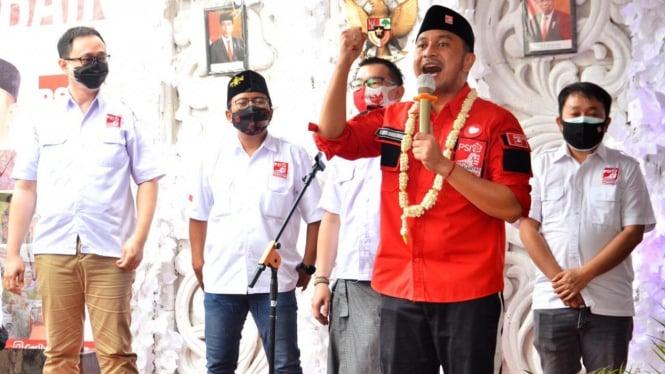 Ketum PSI Giring Ganesha Djumaryo di Surabaya.