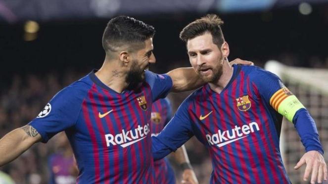 Luis Suarez saat masih di Barcelona bersama Lionel Messi