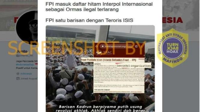 Hoax FPI masuk daftar hitam interpol sebagai ormas ilegal terlarang