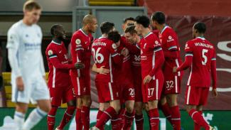 Selebrasi pemain Liverpool usai kalahkan Leicester