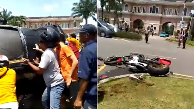 Kecelakaan mobil dan moge Honda CBR1000RR di Sentul, Jawa Barat