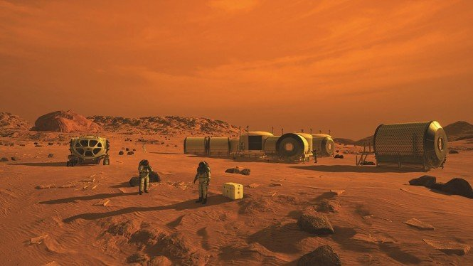 Ilustrasi koloni manusia di Planet Mars.