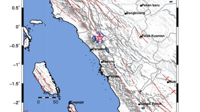 Titik gempa magnitudo 3,3 di Bukittinggi, dipicu sesar Sianok