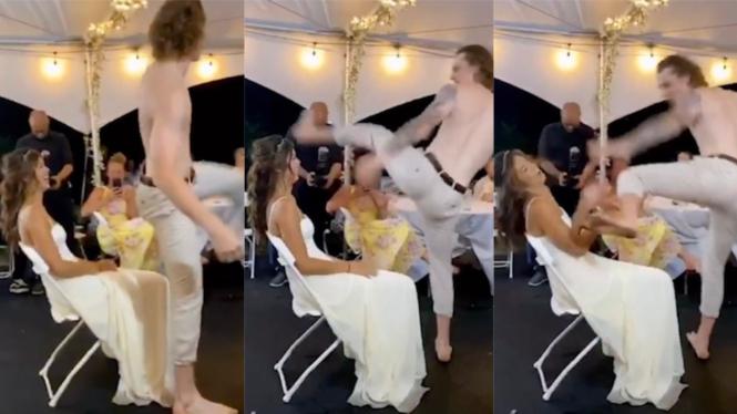 Viral video suami tendang wajah istri di pesta pernikahan