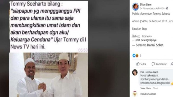 Hoax Tommy menyebut kalau ganggu FPI akan berhadapan dengan keluarga Cendana