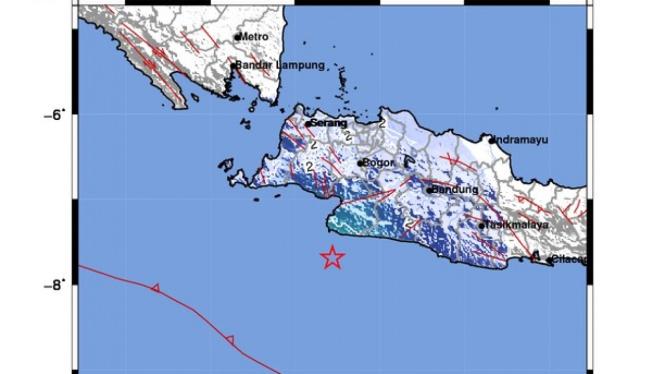 Lokasi gempa di Tegalbuleud, Sukabumi