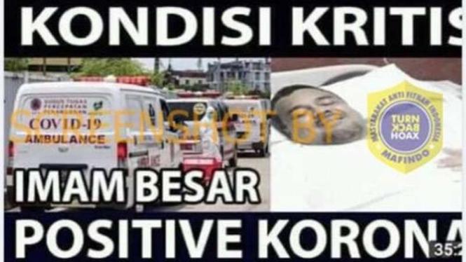 Hoax Habib Rizieq Shihab kritis karena positif corona