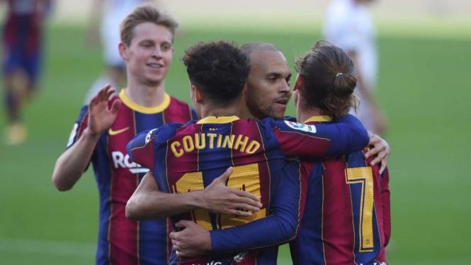 Pemain Barcelona, Coutinho, Griezmann, Braithwaite, dan Frenkie de Jong