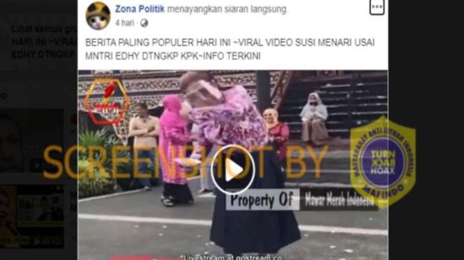 Hoax Susi Pudjiastuti menari usai Menteri Edhy Prabowo ditangkap KPK