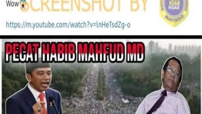 Hoax Presiden Jokowi pecat Mahfud MD