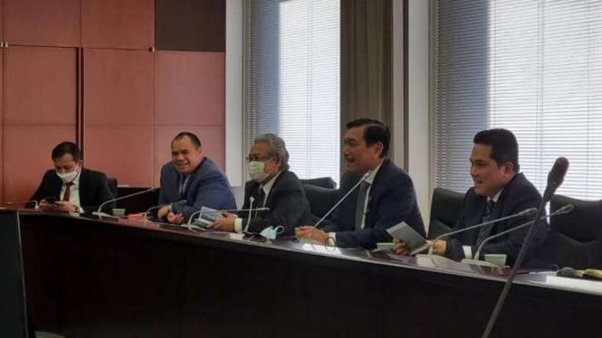 Kunjungan kerja Menko Kemaritiman dan Investasi Luhut Pandjaitan dan Menteri BUMN Erick Thohir ke Jepang.