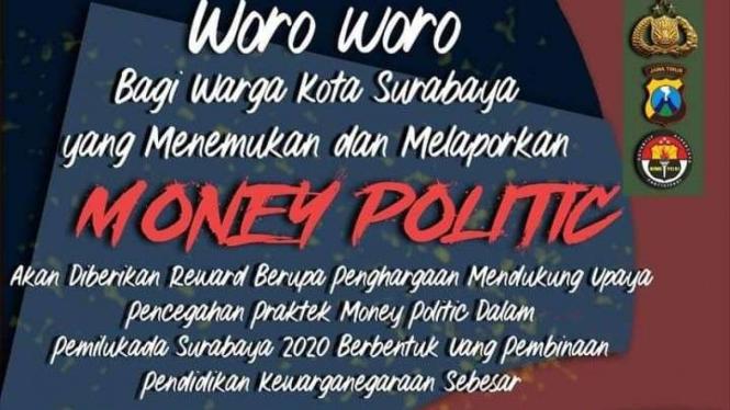 Praktik politik uang dilaporkan di Surabaya dapat reward