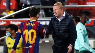 Pelatih Barcelona, Ronald Koeman dan Lionel Messi