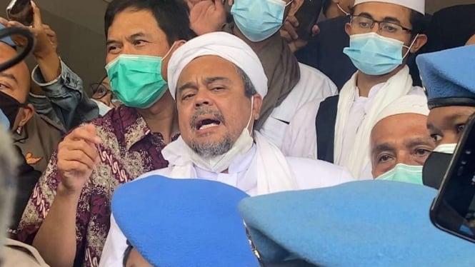 Habib Rizieq Shihab di Markas Polda Metro Jaya, Sabtu, 12 Desember 2020.