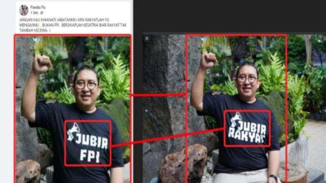 Hoax baju Fadli Zon bertuliskan Jubir FPI