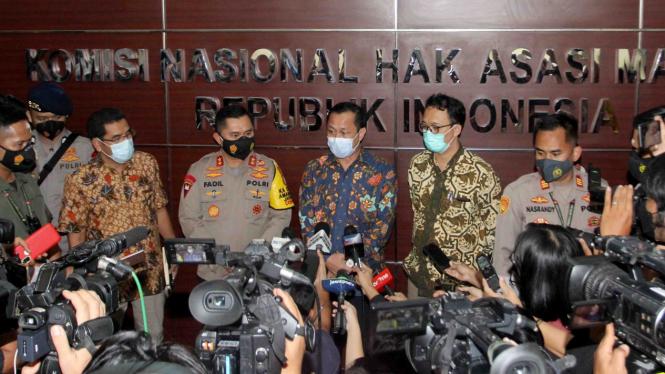 Komisioner Komnas HAM dan Kapolda Metro Jaya saat berikan keterangan pers di Komnas HAM
