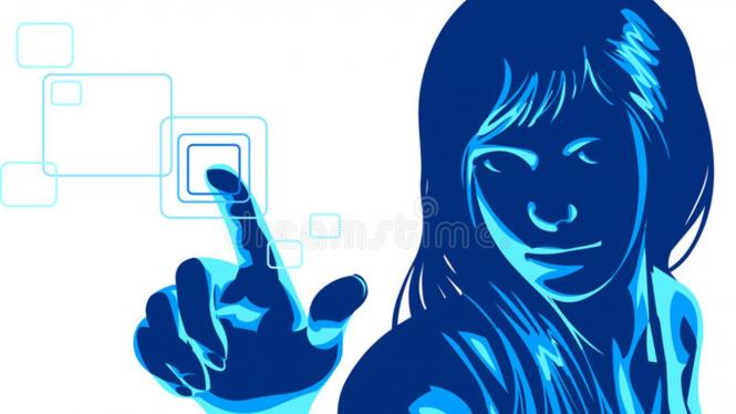 Ilustrasi hacker cantik.